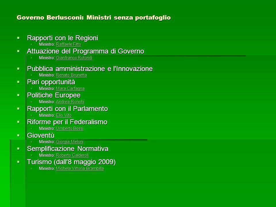 Governo Berlusconi: Ministri senza portafoglio
