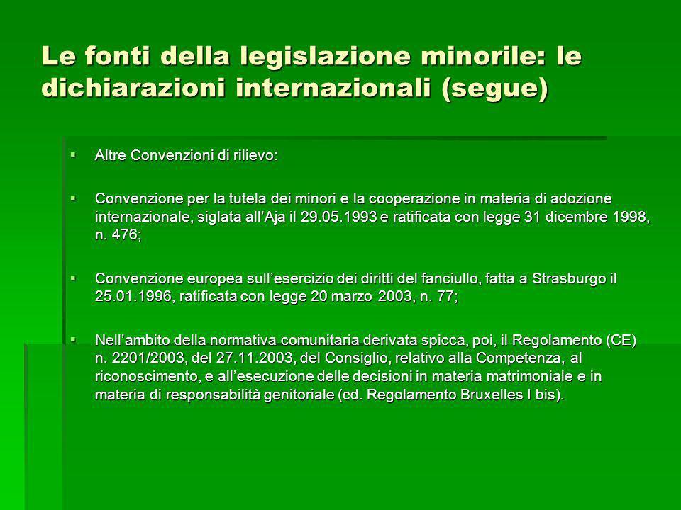 Le fonti della legislazione minorile: le dichiarazioni internazionali (segue)