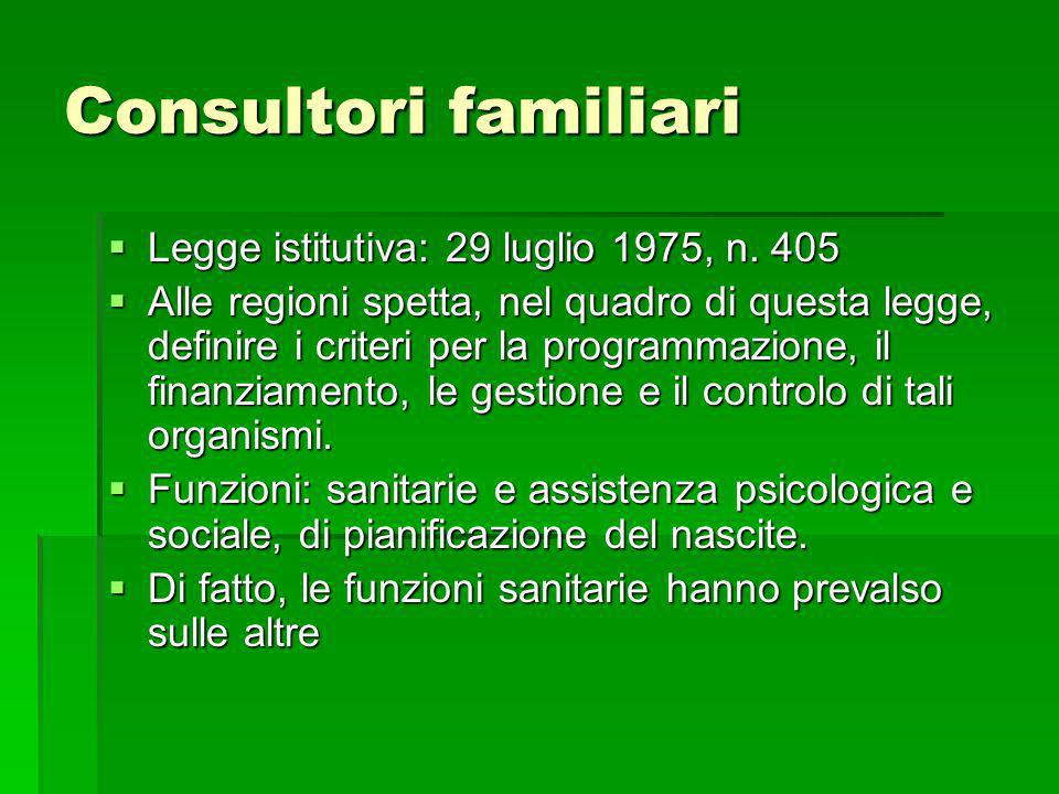 Consultori familiari Legge istitutiva: 29 luglio 1975, n. 405