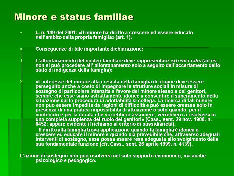 Minore e status familiae