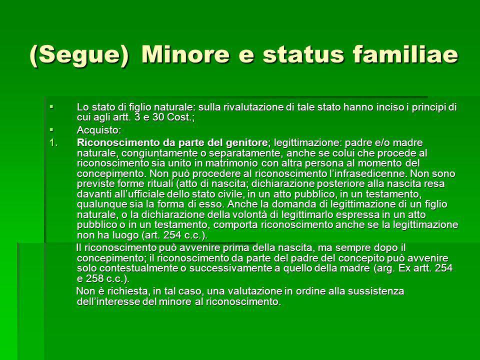 (Segue) Minore e status familiae