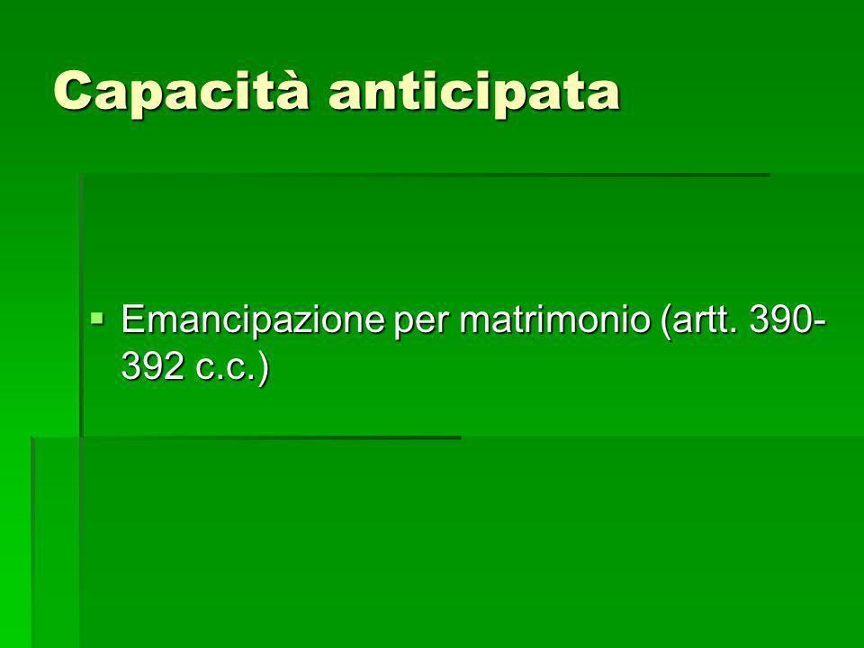 Capacità anticipata Emancipazione per matrimonio (artt. 390-392 c.c.)