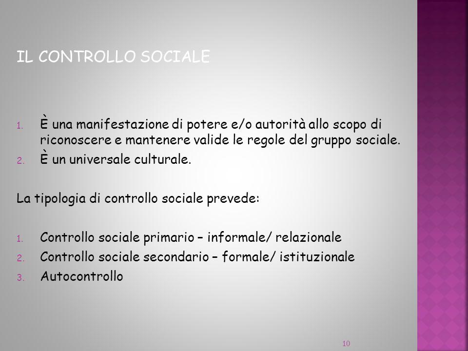 IL CONTROLLO SOCIALE È una manifestazione di potere e/o autorità allo scopo di riconoscere e mantenere valide le regole del gruppo sociale.