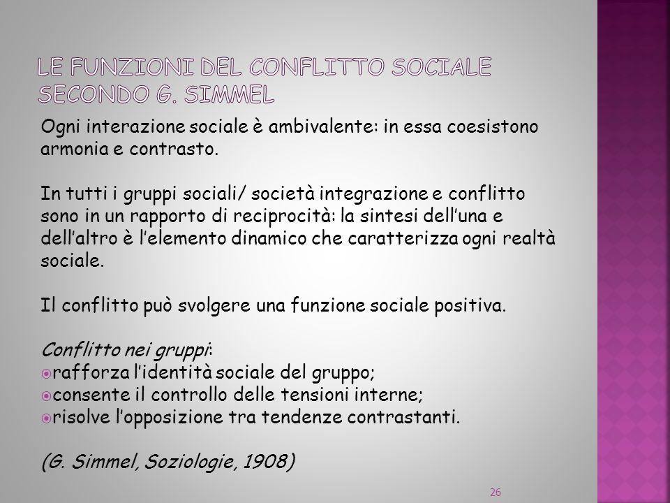 Le funzioni del conflitto sociale secondo G. Simmel