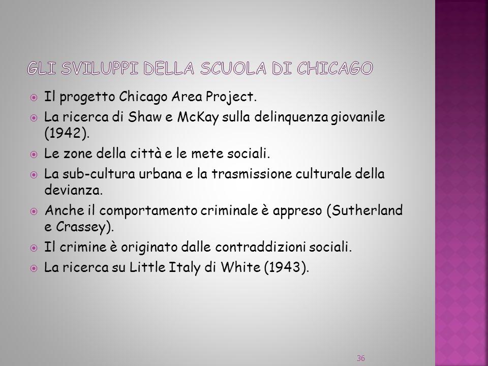 Gli sviluppi della scuola di chicago