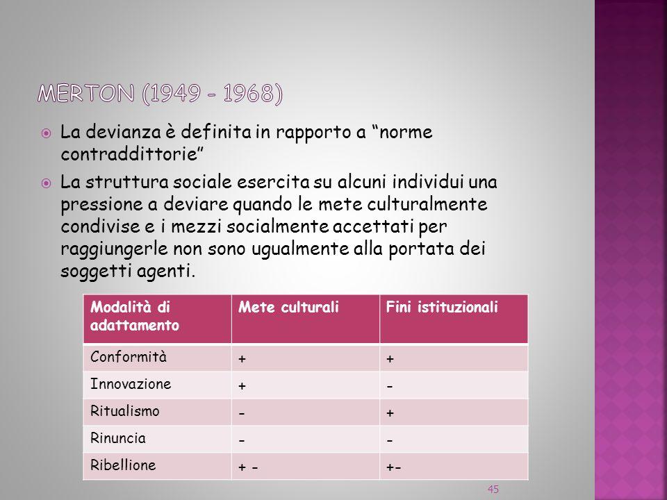 Merton (1949 - 1968) La devianza è definita in rapporto a norme contraddittorie