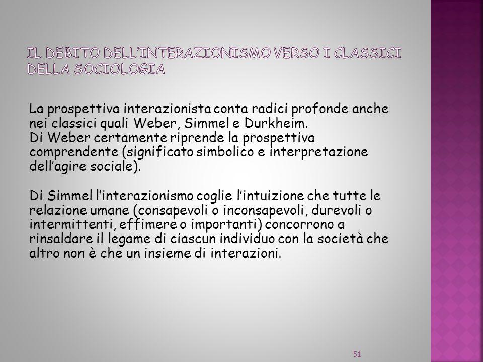 Il debito dell'interazionismo verso i classici della sociologia