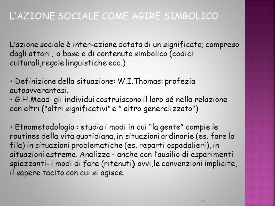 L'AZIONE SOCIALE COME AGIRE SIMBOLICO