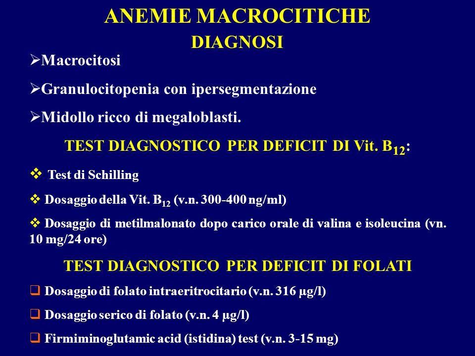 ANEMIE MACROCITICHE DIAGNOSI Macrocitosi