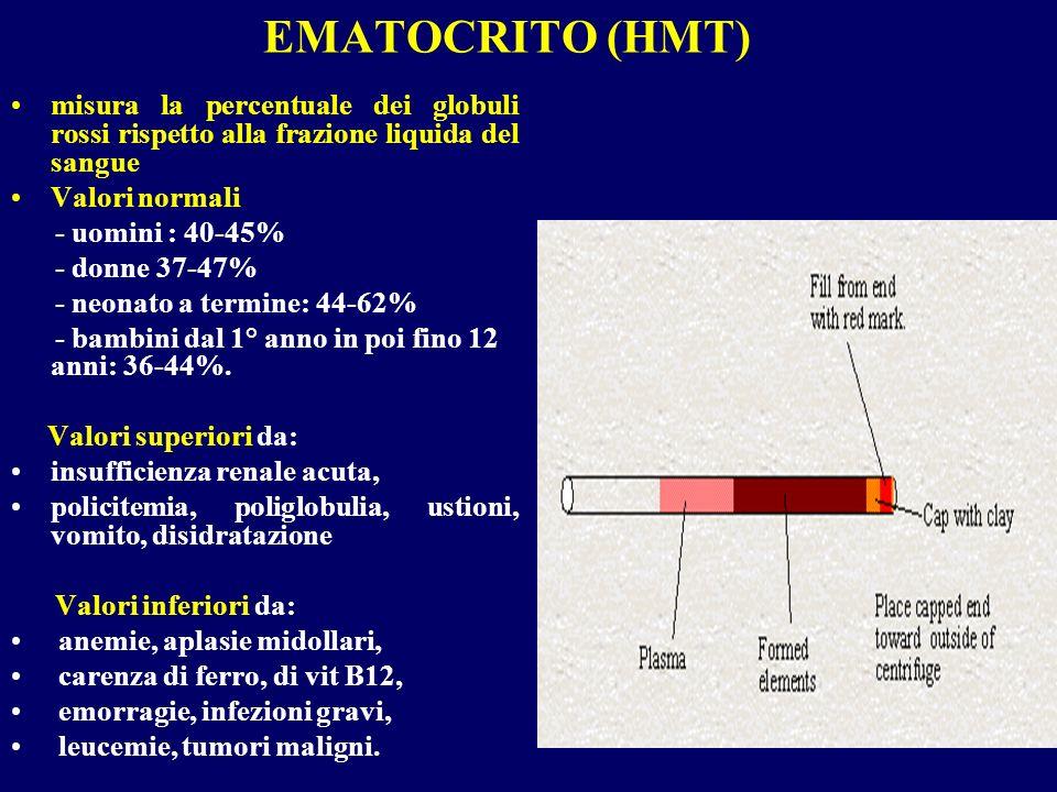 EMATOCRITO (HMT) misura la percentuale dei globuli rossi rispetto alla frazione liquida del sangue.