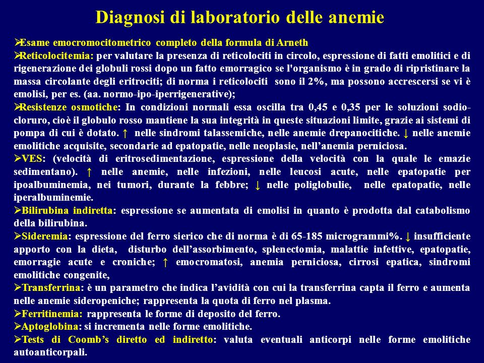 Diagnosi di laboratorio delle anemie