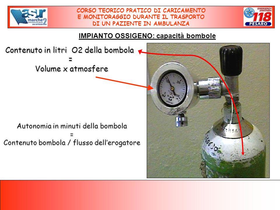 Contenuto in litri O2 della bombola = Volume x atmosfere