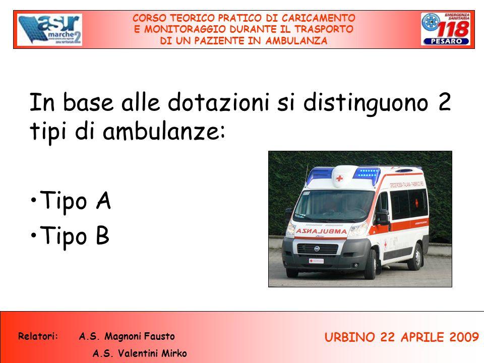 In base alle dotazioni si distinguono 2 tipi di ambulanze: