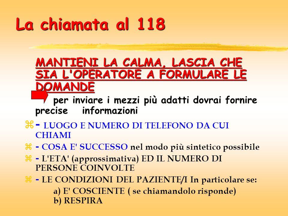 La chiamata al 118 - LUOGO E NUMERO DI TELEFONO DA CUI CHIAMI