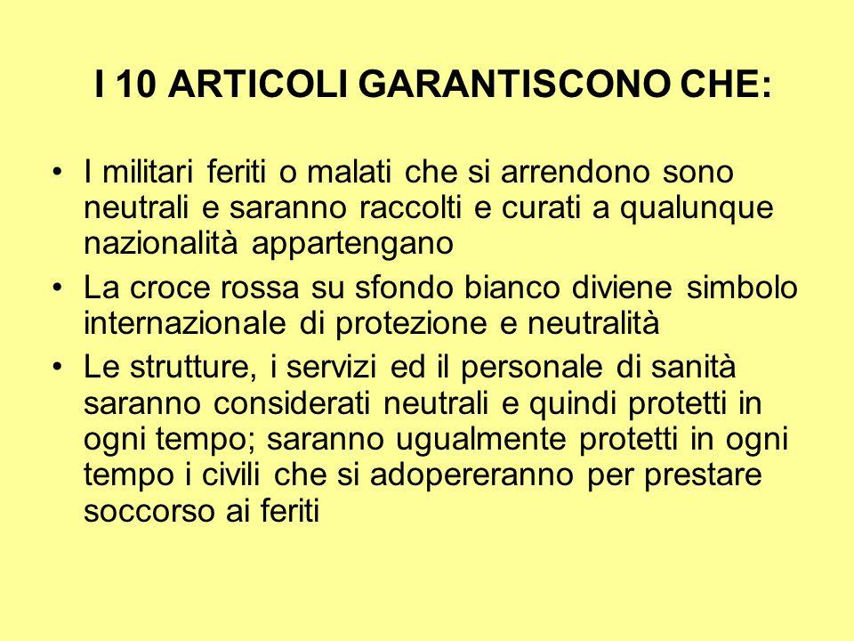 I 10 ARTICOLI GARANTISCONO CHE: