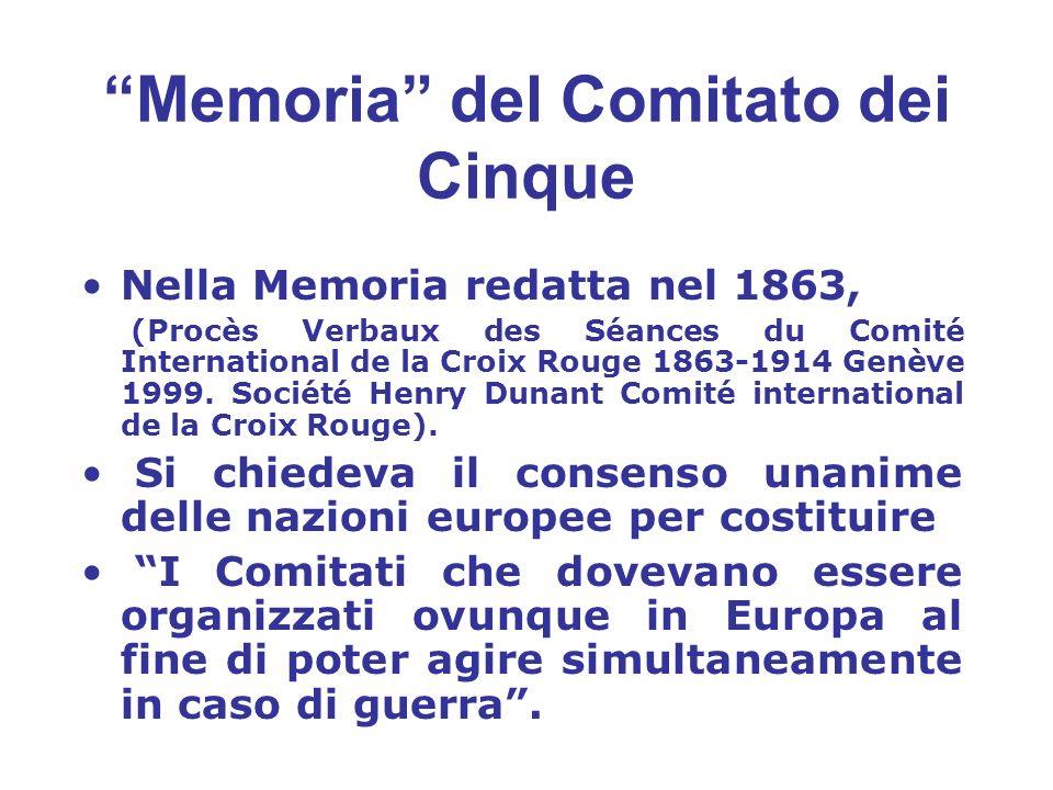 Memoria del Comitato dei Cinque