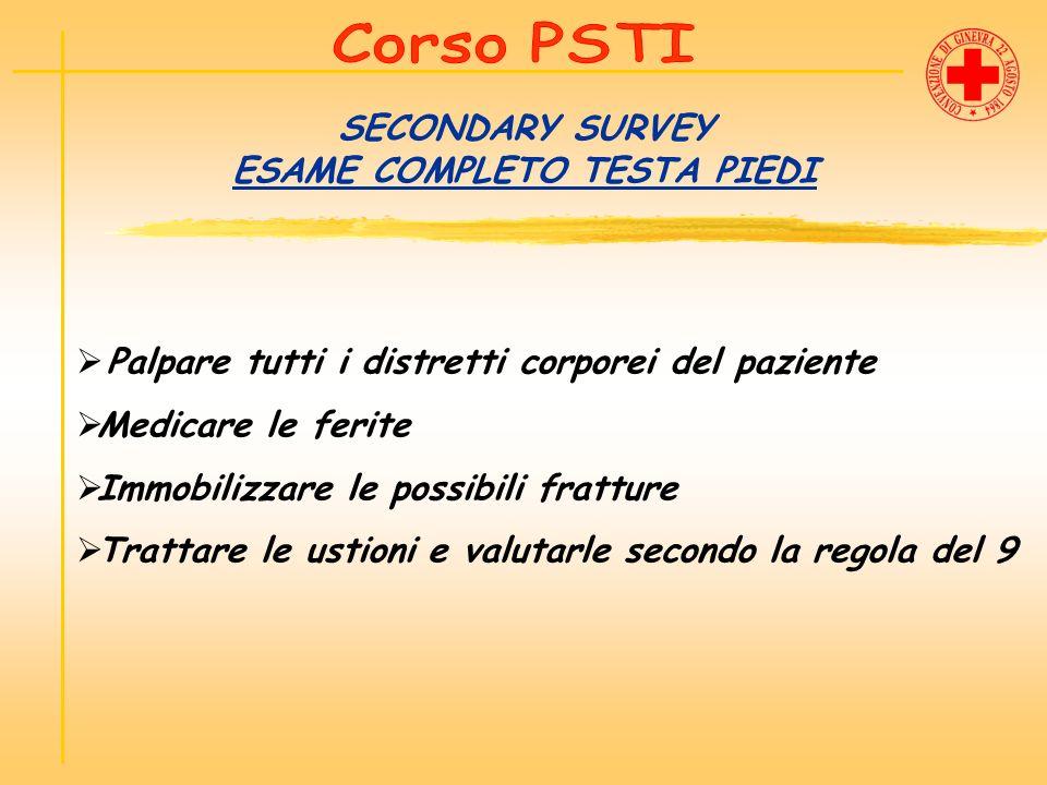 SECONDARY SURVEY ESAME COMPLETO TESTA PIEDI