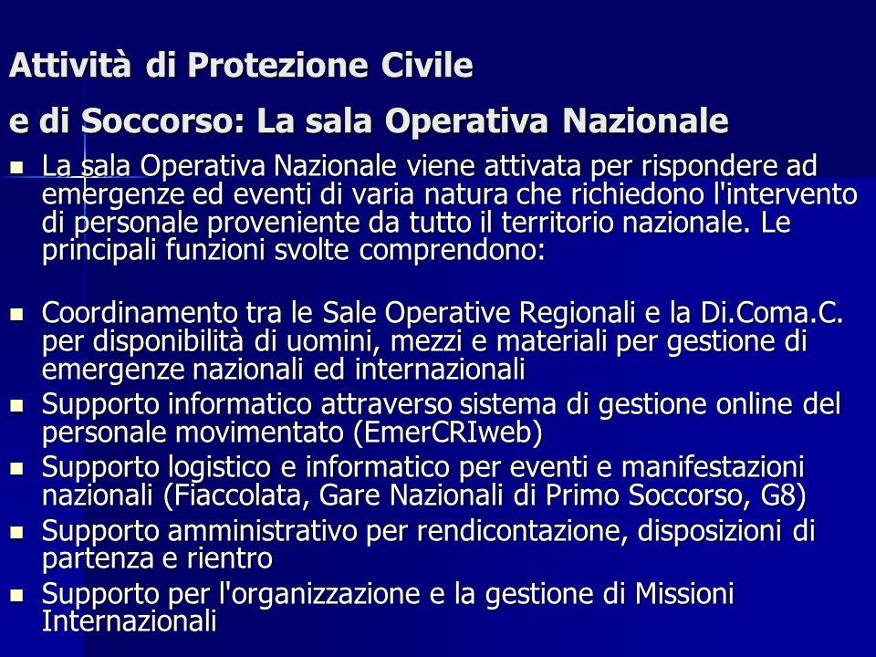 Attività di Protezione Civile e di Soccorso: La sala Operativa Nazionale