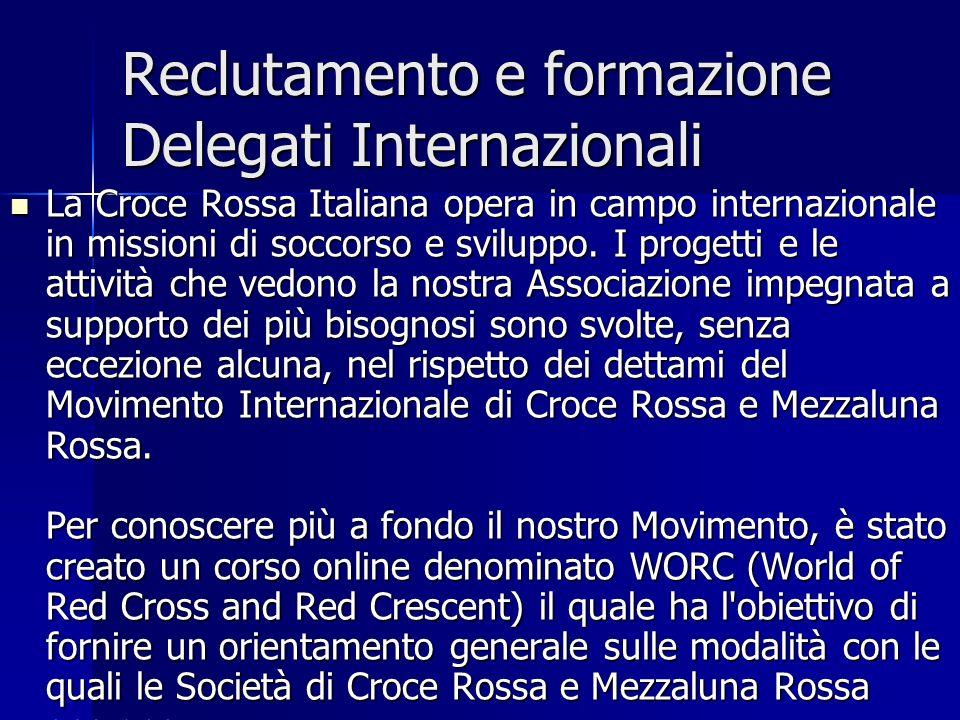 Reclutamento e formazione Delegati Internazionali