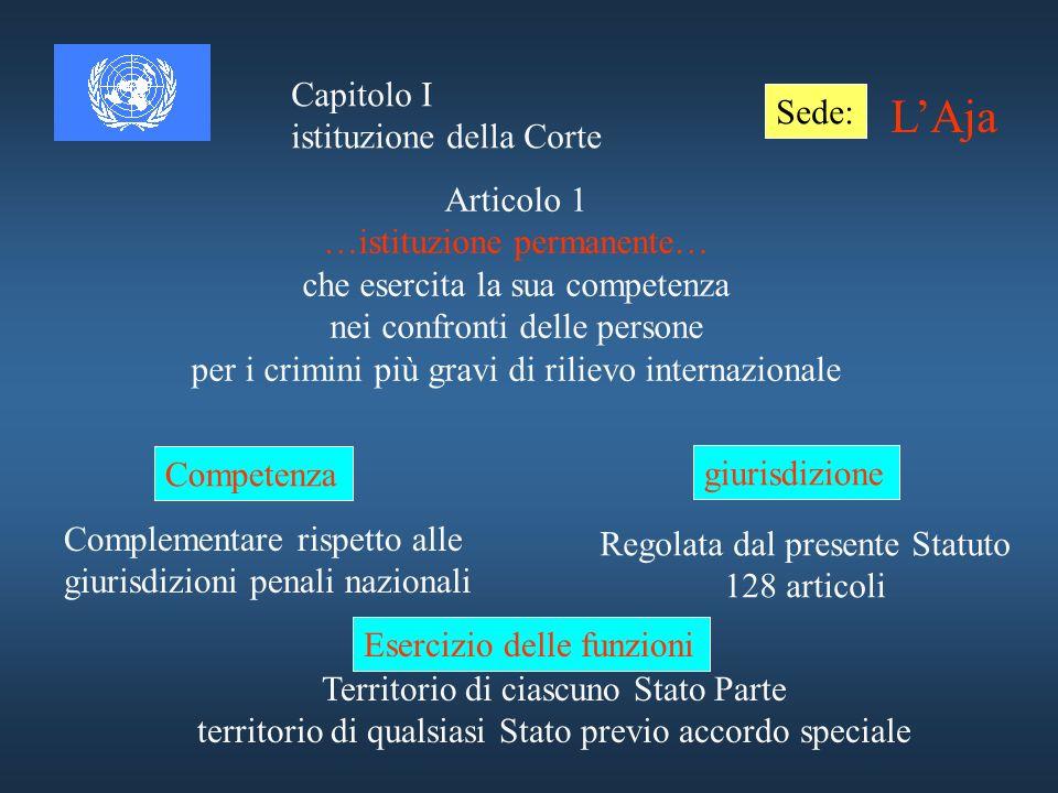 L'Aja Capitolo I Sede: istituzione della Corte Articolo 1