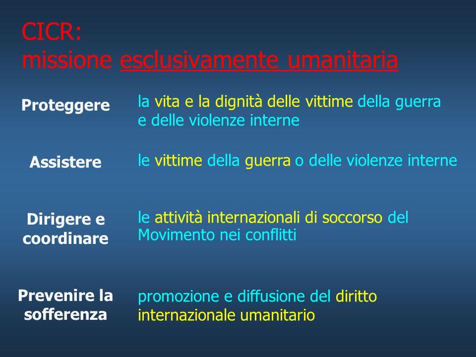 CICR: missione esclusivamente umanitaria