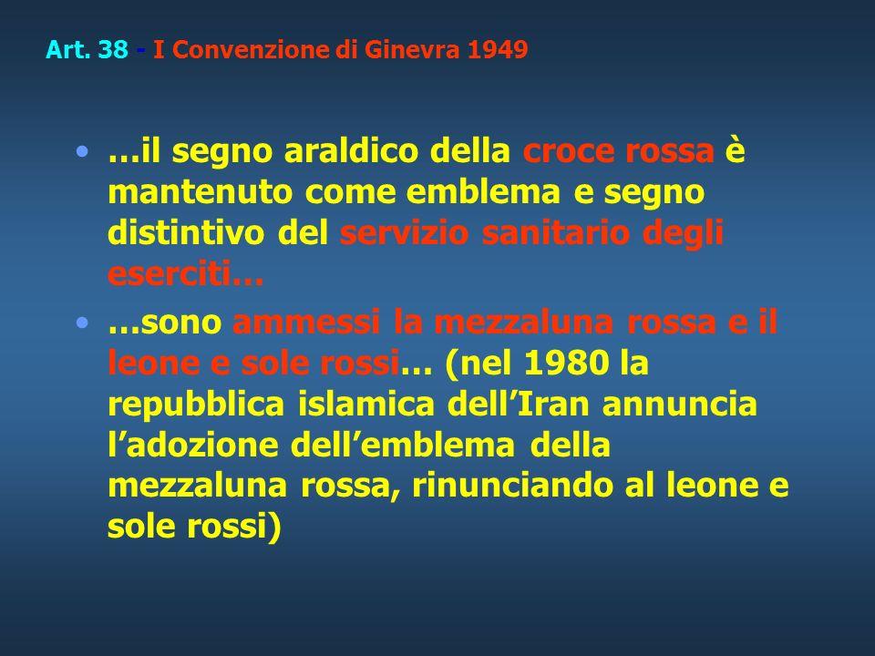 Art. 38 - I Convenzione di Ginevra 1949