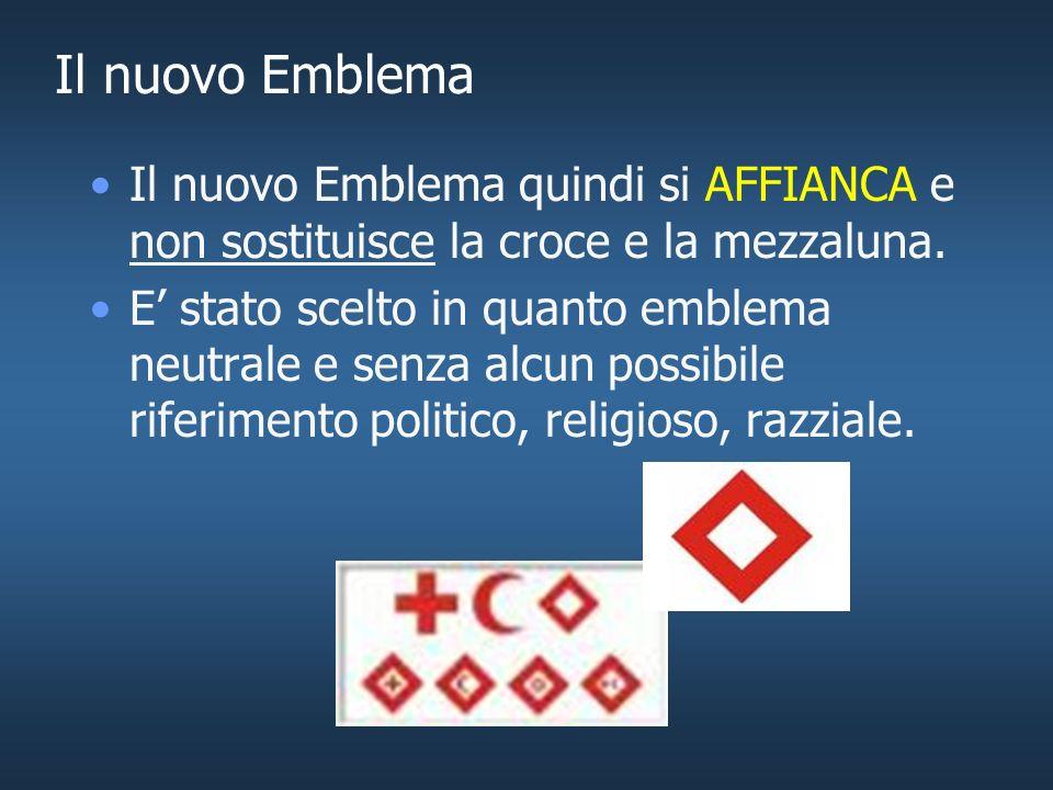 Il nuovo Emblema Il nuovo Emblema quindi si AFFIANCA e non sostituisce la croce e la mezzaluna.