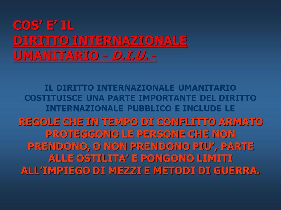COS' E' IL DIRITTO INTERNAZIONALE UMANITARIO - D.I.U. -