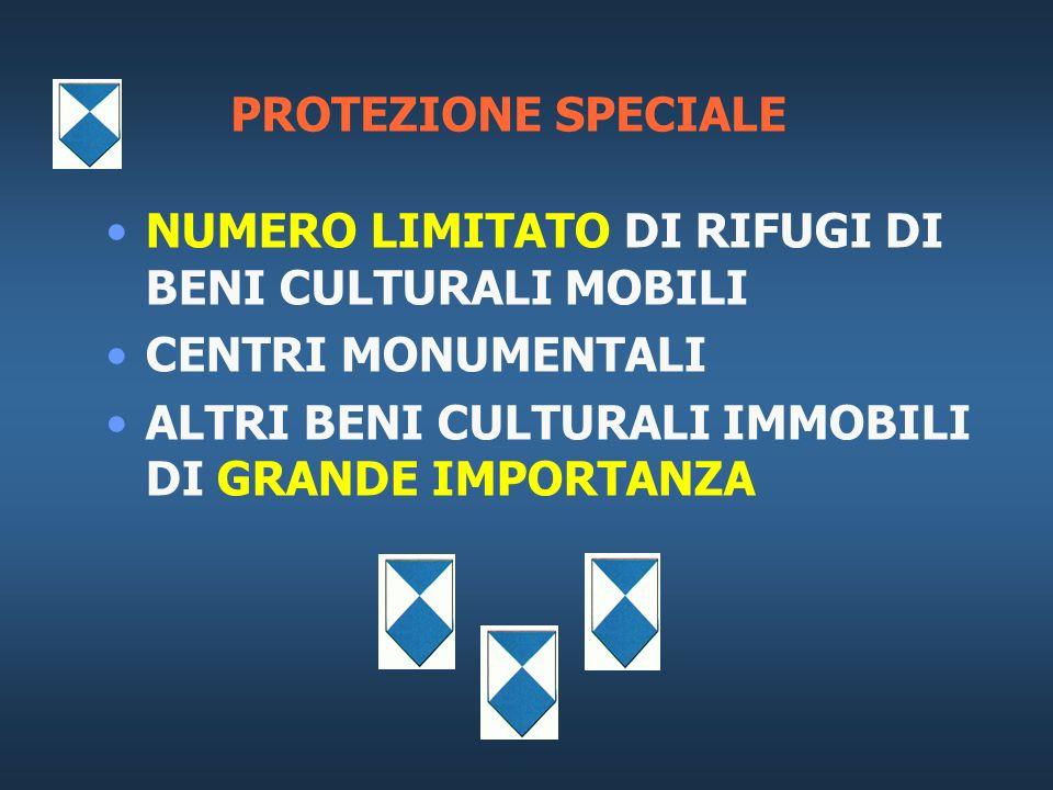 PROTEZIONE SPECIALE NUMERO LIMITATO DI RIFUGI DI BENI CULTURALI MOBILI.