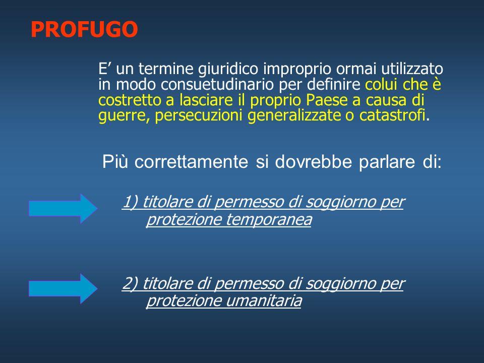 PROFUGO Più correttamente si dovrebbe parlare di: