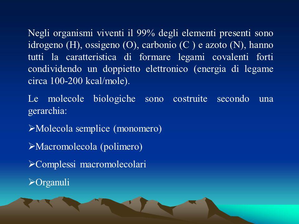 Negli organismi viventi il 99% degli elementi presenti sono idrogeno (H), ossigeno (O), carbonio (C ) e azoto (N), hanno tutti la caratteristica di formare legami covalenti forti condividendo un doppietto elettronico (energia di legame circa 100-200 kcal/mole).