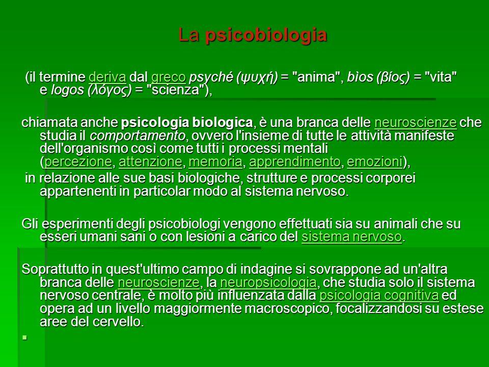 La psicobiologia (il termine deriva dal greco psyché (ψυχή) = anima , bìos (βίος) = vita e logos (λόγος) = scienza ),