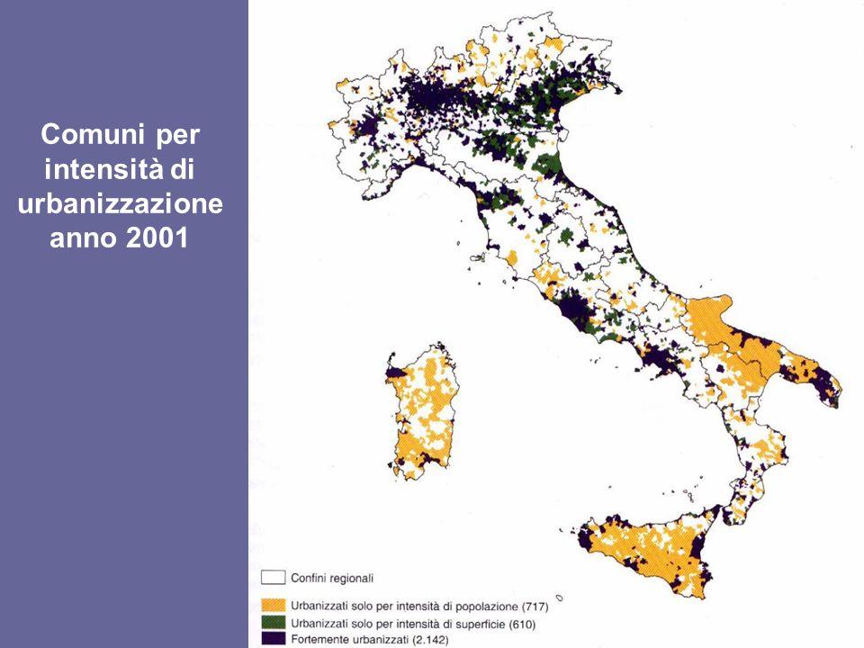 Comuni per intensità di urbanizzazione anno 2001
