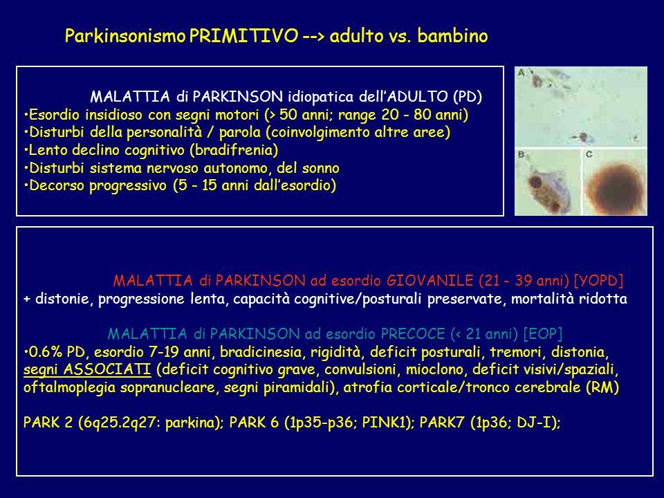 Parkinsonismo PRIMITIVO --> adulto vs. bambino