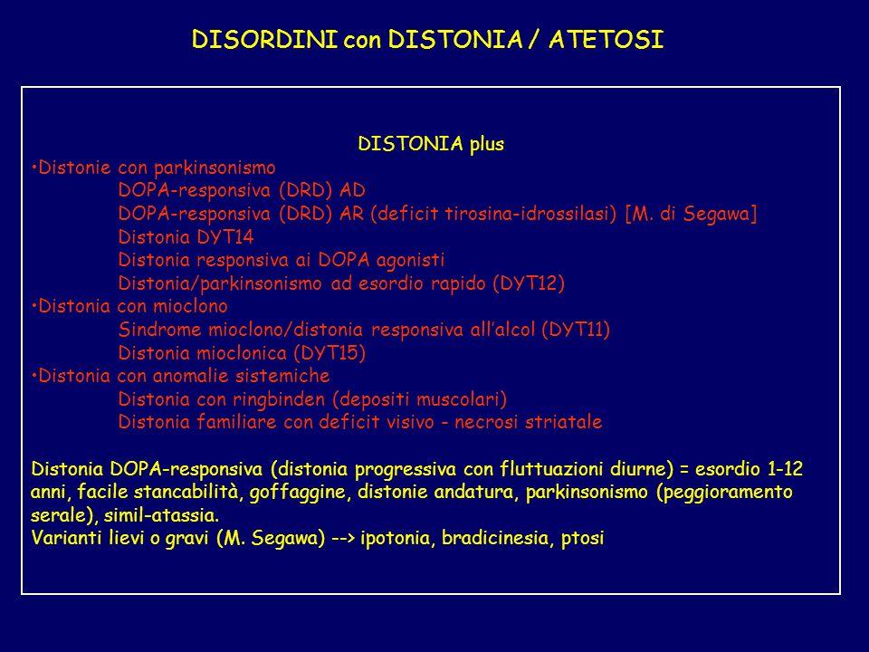 DISORDINI con DISTONIA / ATETOSI