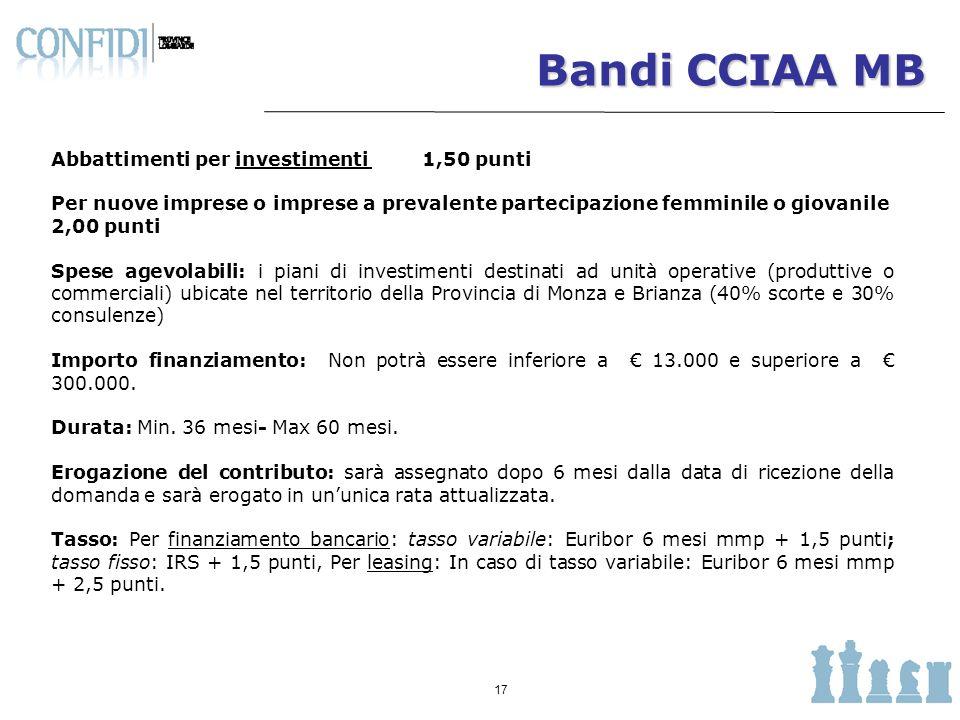 Bandi CCIAA MB Abbattimenti per investimenti 1,50 punti