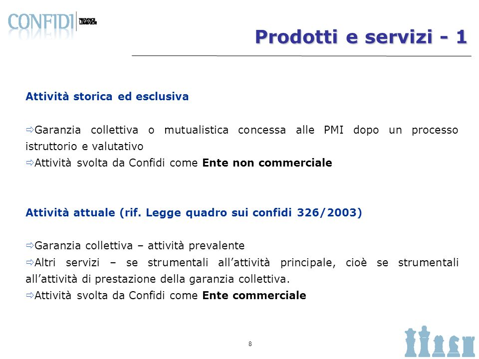 Prodotti e servizi - 1 Attività storica ed esclusiva