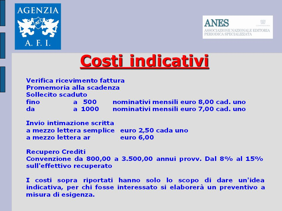 Costi indicativi
