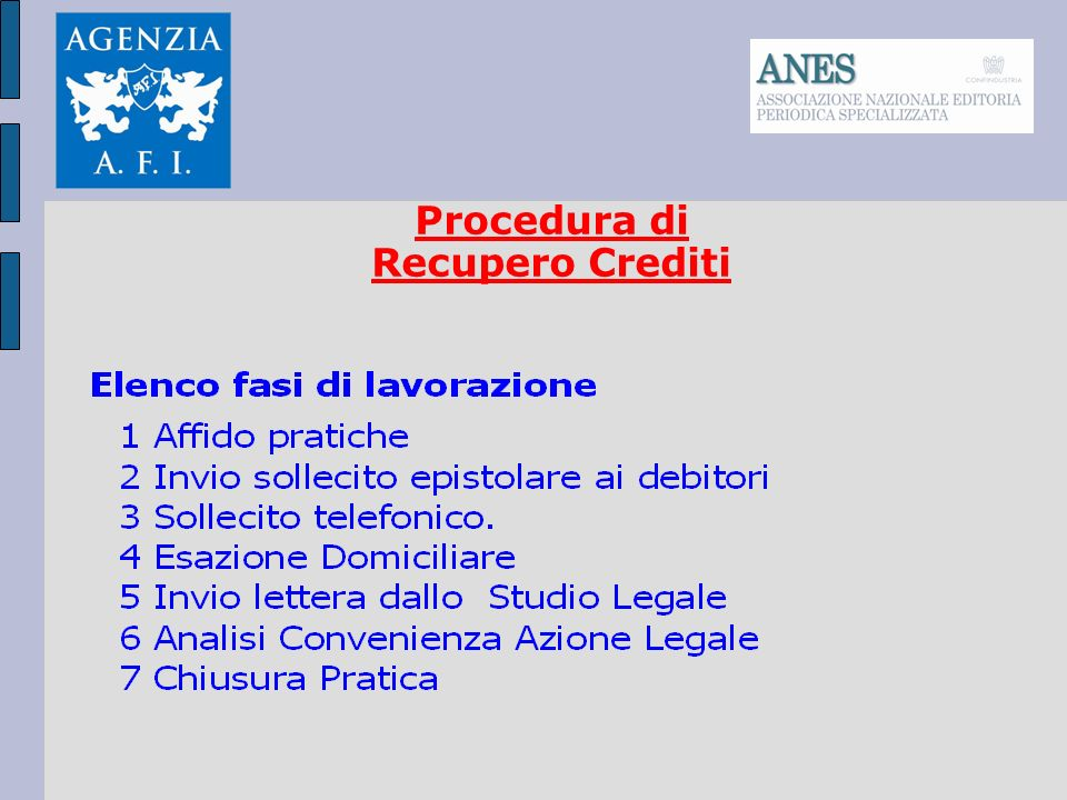 Procedura di Recupero Crediti