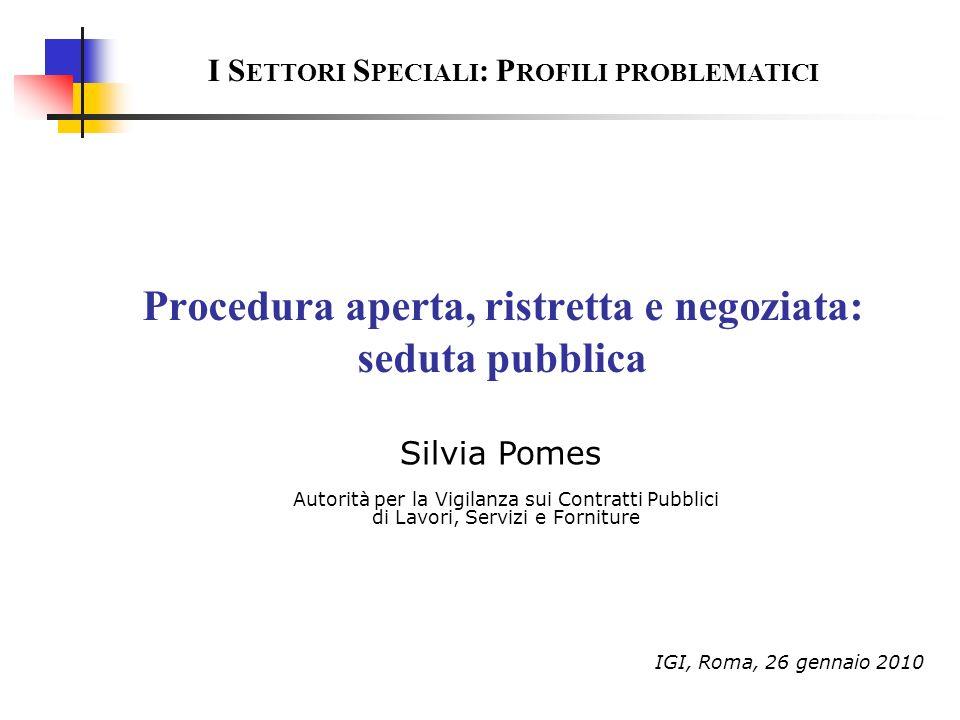 Procedura aperta, ristretta e negoziata: seduta pubblica
