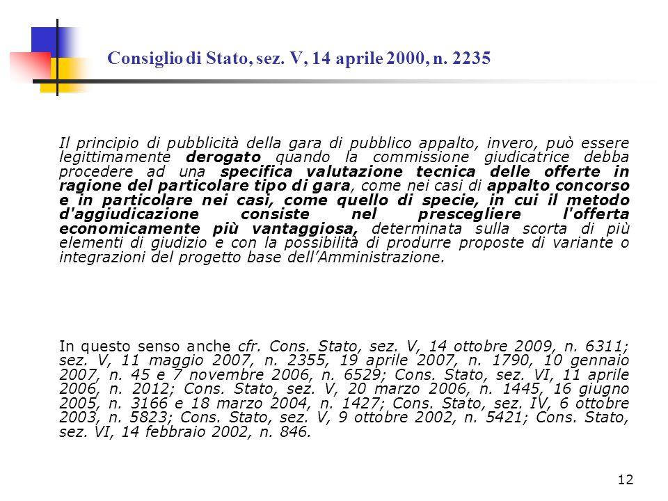 Consiglio di Stato, sez. V, 14 aprile 2000, n. 2235
