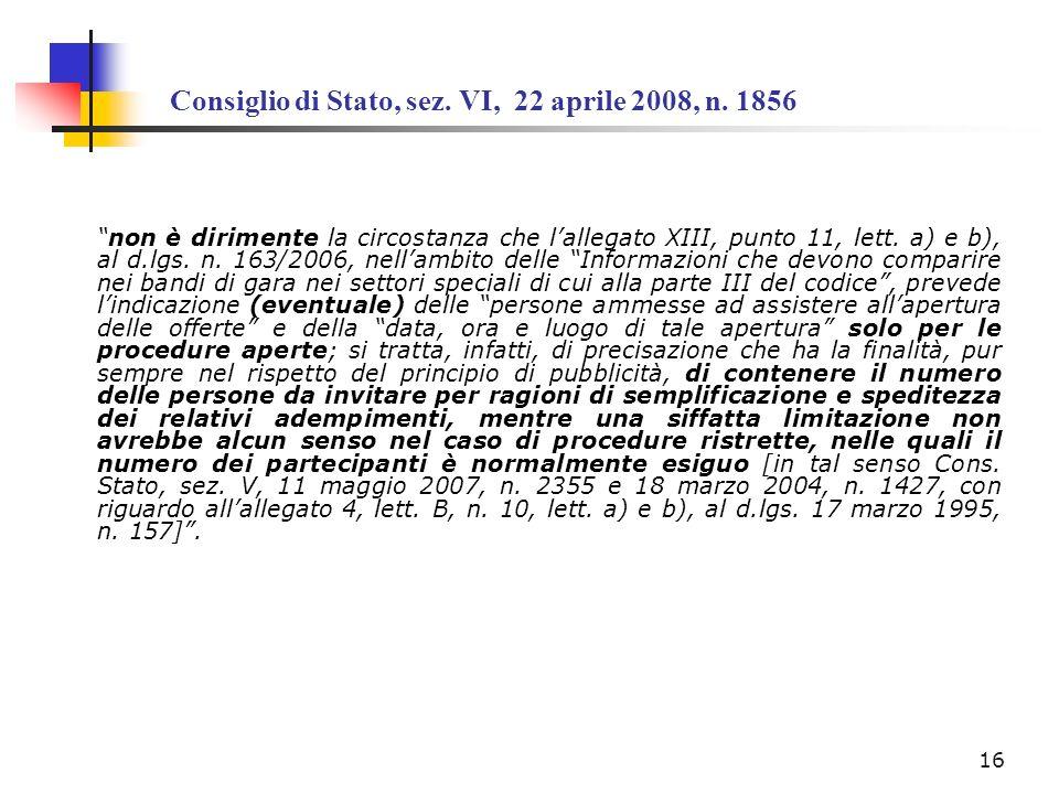 Consiglio di Stato, sez. VI, 22 aprile 2008, n. 1856