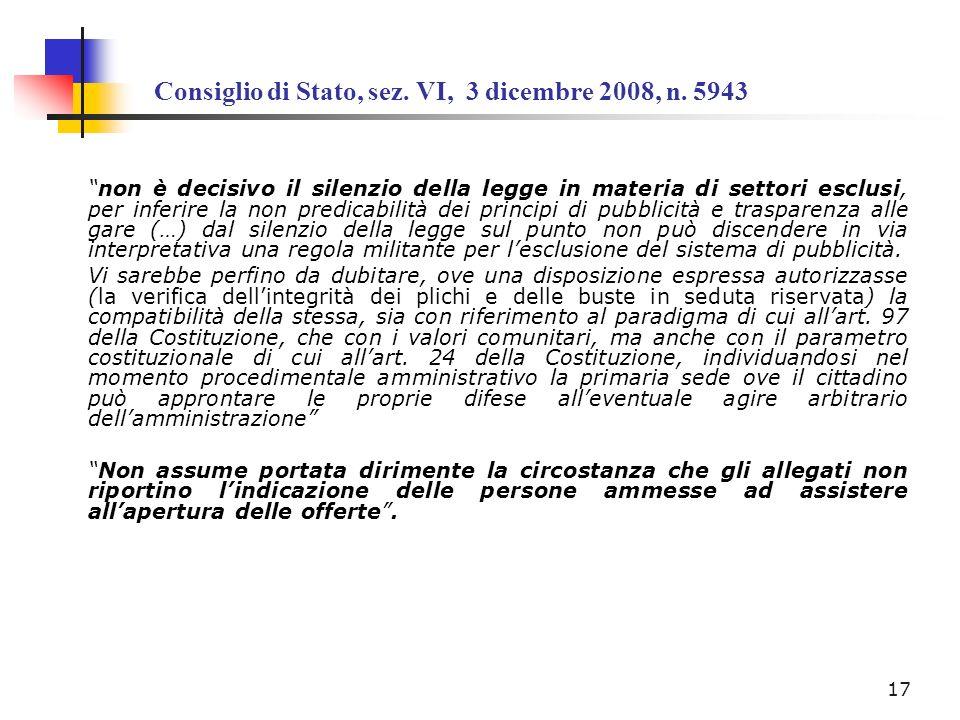 Consiglio di Stato, sez. VI, 3 dicembre 2008, n. 5943