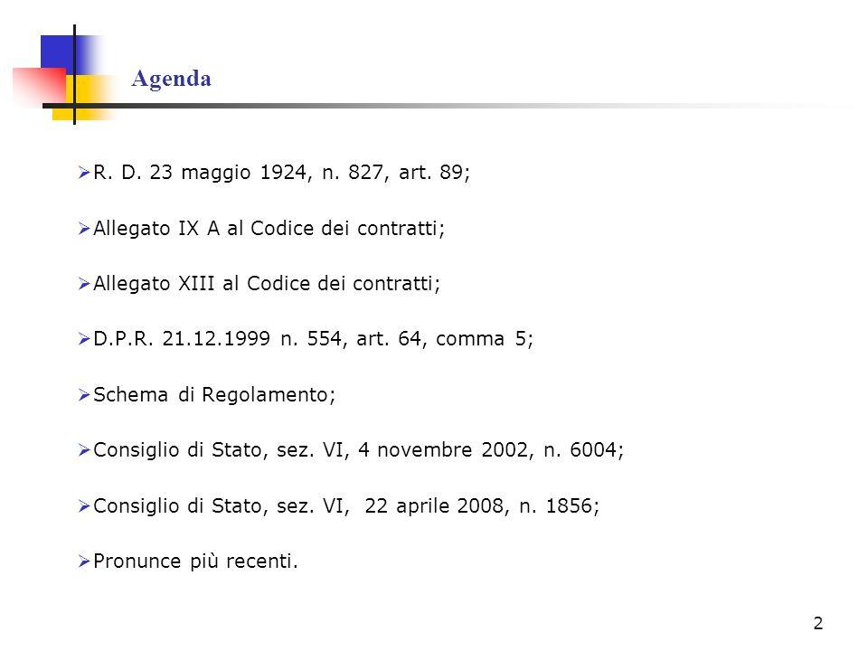 Agenda R. D. 23 maggio 1924, n. 827, art. 89; Allegato IX A al Codice dei contratti; Allegato XIII al Codice dei contratti;