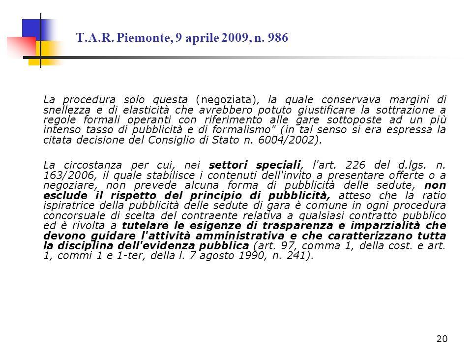 T.A.R. Piemonte, 9 aprile 2009, n. 986