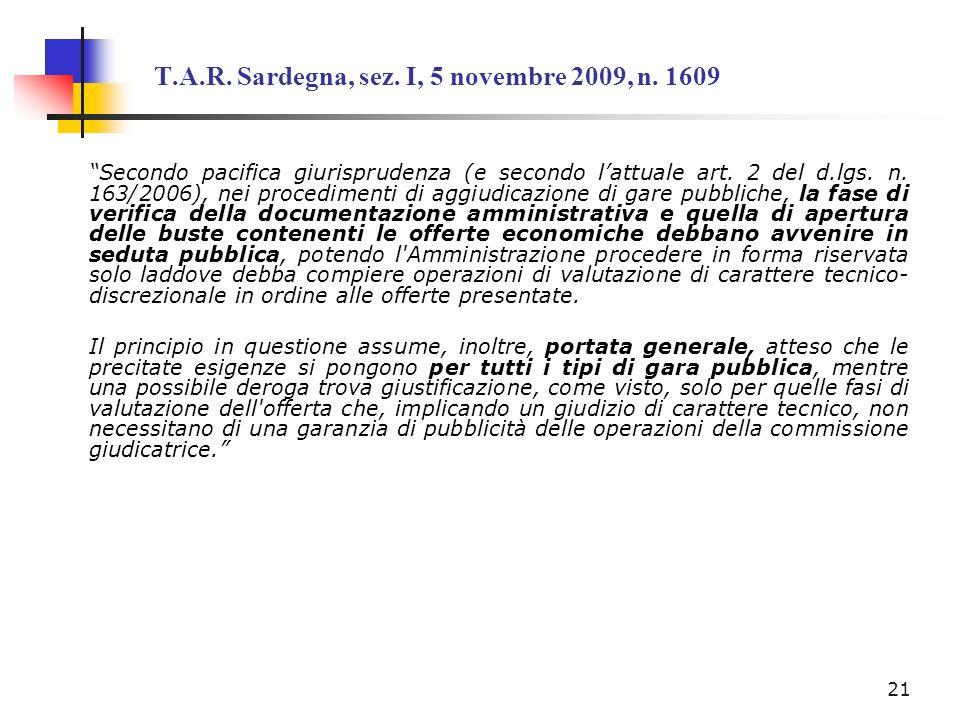 T.A.R. Sardegna, sez. I, 5 novembre 2009, n. 1609