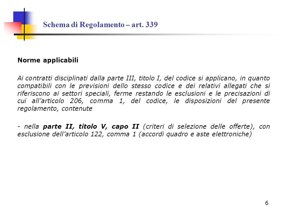 Schema di Regolamento – art. 339