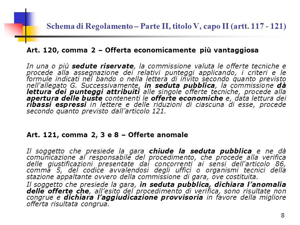 Schema di Regolamento – Parte II, titolo V, capo II (artt. 117 - 121)