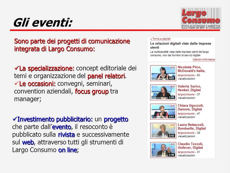 Gli eventi: Sono parte dei progetti di comunicazione integrata di Largo Consumo: