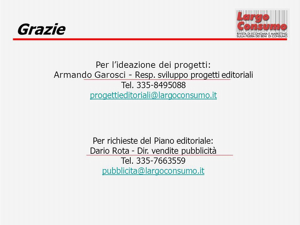 Grazie Per l'ideazione dei progetti: Armando Garosci - Resp. sviluppo progetti editoriali. Tel. 335-8495088.